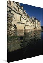 Zijaanzicht van het Kasteel van Chenonceau in Frankrijk Canvas 90x140 cm - Foto print op Canvas schilderij (Wanddecoratie woonkamer / slaapkamer)