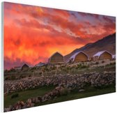 Zonsondergang India Glas 90x60 cm - Foto print op Glas (Plexiglas wanddecoratie)
