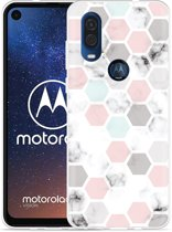 Motorola One Vision Hoesje Marmer Honeycomb