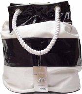 Wanted BEACH BAG Strand Tas Trendy Zwart Wit met Touw