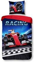 Snoozing Race - Flanel - Dekbedovertrek - Eenpersoons - 140x200/220 cm + 1 kussensloop 60x70 cm - Multi kleur