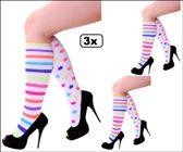 3x Paar sokken multicolour strepen/dots