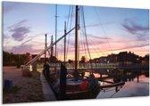 Canvas schilderij Boot | Paars, Wit, Blauw | 120x70cm 1Luik