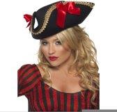 Zwarte piraten driesteek hoed voor volwassenen - Piratenhoed - Verkleedkleding voor volwassenen