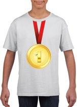 Gouden medaille kampioen shirt wit jongens en meisjes - Winnaar shirt Nr 1 kinderen M (134-140)