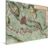 Oude en historische stadskaart van Maastricht Canvas - Plattegrond 30x20 cm - klein - Foto print op Canvas schilderij (Wanddecoratie woonkamer / slaapkamer)