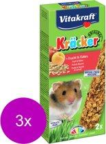 Vitakraft hamsterkracker - 2 in 1 fruit - 3 St à 2 St - Hamstersnack