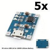5 Stuks - 5V Micro USB 1A 18650 Battery Charging Board Module