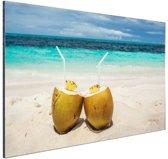 Kokosnoten Caribisch strand Aluminium 30x20 cm - Foto print op Aluminium (metaal wanddecoratie)