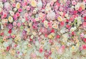 Fotobehang Beautiful Flowers Pastel Colours | XXXL - 416cm x 254cm | 130g/m2 Vlies