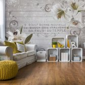 Fotobehang Vintage Chic Flowers Wood Planks French Script | V8 - 368cm x 254cm | 130gr/m2 Vlies
