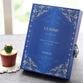 Luxe Vintage Dagboek Met Cijferslot - Notebook Met Geheime Code Slot - Blauw