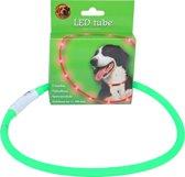 Halsband met LED verlichting verstelbaar 20-70 cm groen, USB oplaadbaar.