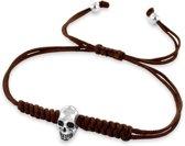 Kaliber 7KB-0022 - Heren armband met bead - rope en staal - skull - one-size - donkerbruin / zilverkleurig