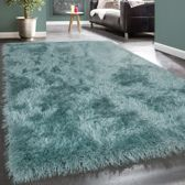 Trendy Design Vloerkleed Shaggy Tapijt Pastel Turquoise Glitter 120 x 170 cm