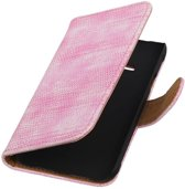 Wicked Narwal | Lizard bookstyle / book case/ wallet case Hoes voor Samsung galaxy j1 2015 Ace Roze