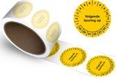 Keuringssticker Volgende keuring op  Ø 20 mm - 1100 stickers (op rol)