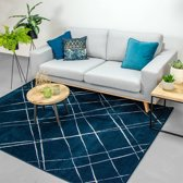 Vloerkleed Ambiance - Skretch Blauw Wit 80x150cm