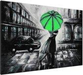 Schilderij handgeschilderd Liefde | Groen , Zwart , Grijs | 120x70cm 1Luik