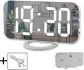 Luxe Wekker Digitaal met LED Spiegel – Multifunctionele Alarmklok met Snooze Functie en 2 USB Poorten - Wit