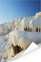 Blauwe lucht boven Pamukkale in Turkije Poster 80x120 cm - Foto print op Poster (wanddecoratie woonkamer / slaapkamer)