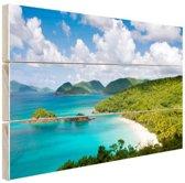 Caribische eilanden en stranden Hout 120x80 cm - Foto print op Hout (Wanddecoratie)