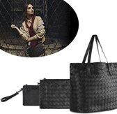 3dlg Lederen Tassenset Dames - Met Leren Clutch Portemonnee/Shopper Bag Opbergtas/Handtas - Zwart