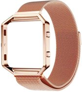 Classic Series Magnetic Loop Stainless Steel Armband + Frame voor Fitbit Blaze - Rose Goud