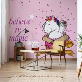 Fotobehang Unicorn Believe In Magic | V8 - 368cm x 254cm | 130gr/m2 Vlies