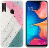 BackCover Marble Glitter voor Samsung A40 Grijs