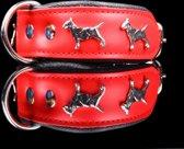 Dog's Companion leren halsband - Bull Terriër - 32 - 41 cm x 40 mm - Rood / Zwart
