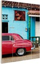 Kleurrijk Cuba Hout 120x160 cm - Foto print op Hout (Wanddecoratie) XXL / Groot formaat!