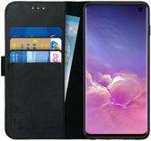 Rosso Deluxe Samsung Galaxy S10 Hoesje Echt Leer Book Case Zwart | Ruimte voor drie pasjes | Opbergvakje voor briefgeld | Handige stand functie | Magneetsluiting