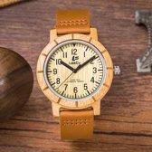 Handgemaakt Horloge van bamboehout met een leren band - Wialy H056