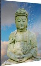 Stenen Boeddha Aluminium 80x120 cm - Foto print op Aluminium (metaal wanddecoratie)