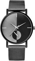 Hidzo Horloge Bowake ø 37 mm - Zwart/Zwart - Inclusief horlogedoosje