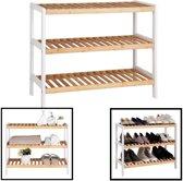 Schoenenrek bamboe hout - Voor 9 paar schoenen - 70 cm breed - Rek met 3 etages - Opbergrek met moderne uitstraling - Ook als open badkamerrek / organizer voor badkamer - Decopatent®