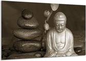 Schilderij | Canvas Schilderij Boeddha, Stenen | Sepia, Bruin | 120x70cm 1Luik | Foto print op Canvas