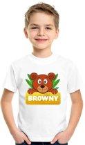 Browny de beer t-shirt wit voor kinderen - unisex - beren shirt XS (110-116)