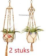 Plantenhanger set van 2 stuks - macramé - hangplant - sisal jute - retro - 545