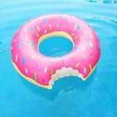 Grote opblaasbare roze donut zwemband - 107 cm