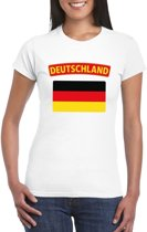T-shirt met Duitse vlag wit dames XL