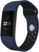 123Watches.nl Fitbit charge 3 sport band - donkerblauw zwart - ML