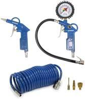 Hyundai compressor accessoires 6 stuks - pneumatische bandenpomp / bandenvulpomp / bandenvulpistool - luchtdrukpistool / blaaspistool - spiraalslang - ventielen (3x)