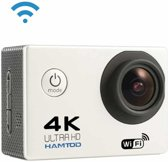 HAMTOD H9A HD 4K WiFi Sportcamera met onderwaterbehuizing, Generalplus 4247, 2,0 inch LCD-scherm, 120 graden groothoeklens (wit)