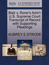 Blair V. Rorer's Adm'r U.S. Supreme Court Transcript of Record with Supporting Pleadings