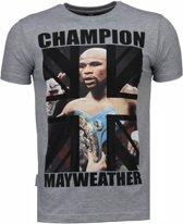 Local Fanatic Mayweather - Rhinestone T-shirt - Grijs - Maten: XXL