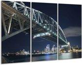 Glasschilderij Brug | Blauw, Grijs, Wit | 120x80cm 3Luik | Foto print op Glas |  F002970