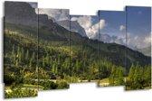 Canvas schilderij Bomen | Groen, Blauw, Wit | 150x80cm 5Luik