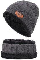 Fleece Muts & Bijpassende Sjaal - Grijs - Heerlijk voor de koude winterdagen
